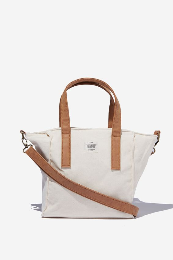 A5 Book Tote Bag, RAW CANVAS WITH MID TAN