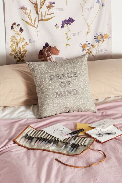 Square Cushion, COOL GREY MEADOW DITSY PEACE OF MIND