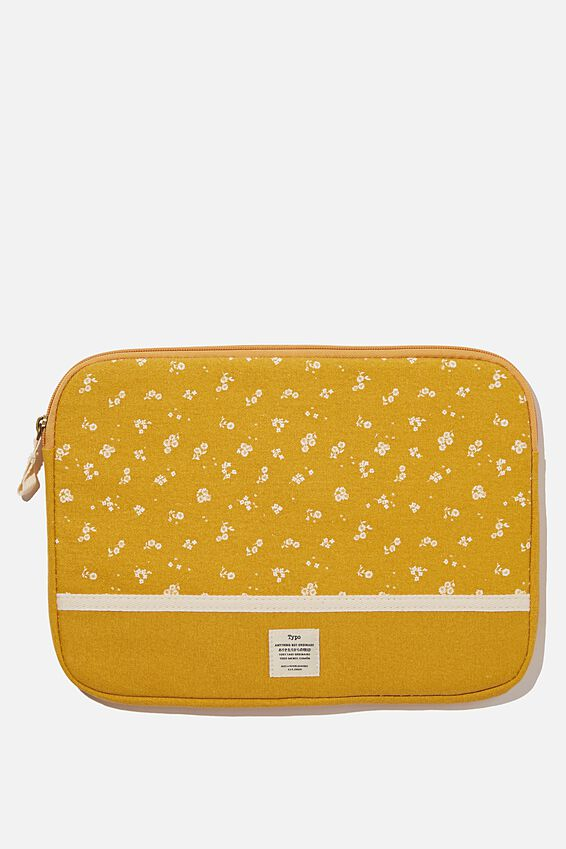 Canvas 13 Inch Laptop Case, DOTTIE FLORAL MUSTARD