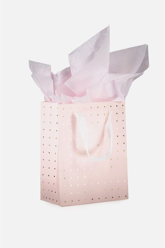 Small Gift Bag with Tissue Paper, PINK & GOLD POLKA
