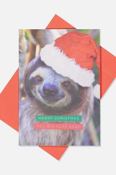 Christmas Card 2019, SLOTH CUTE HEAD