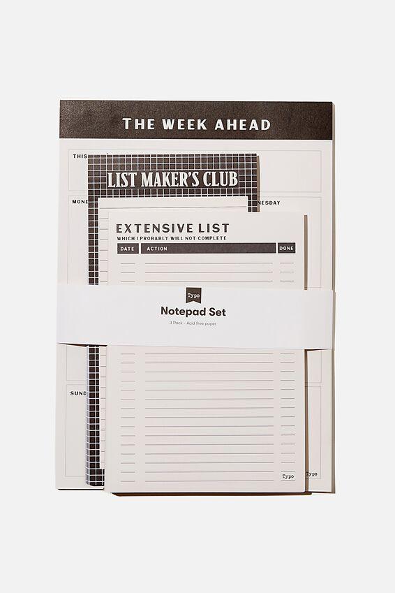Notepad 3Pk, BLACK & WHITE