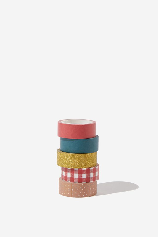Washi Tape 5Pk, CHRISTMAS RED AND GREEN