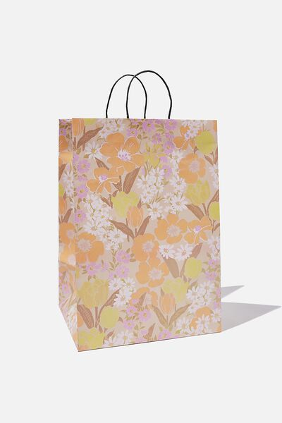 Get Stuffed Gift Bag - Large, SAND GOLDIE FLORAL