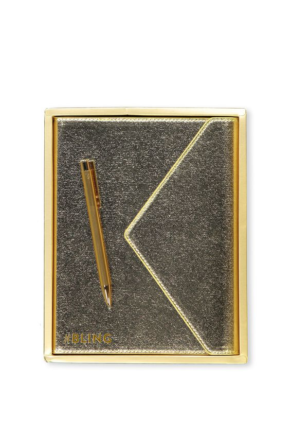 Magnetic Close Journal Personalisation, GOLD CROSS HATCH