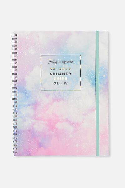 A4 Spinout Notebook - 120 Pages, TODAYS AGENDA SPARKLE