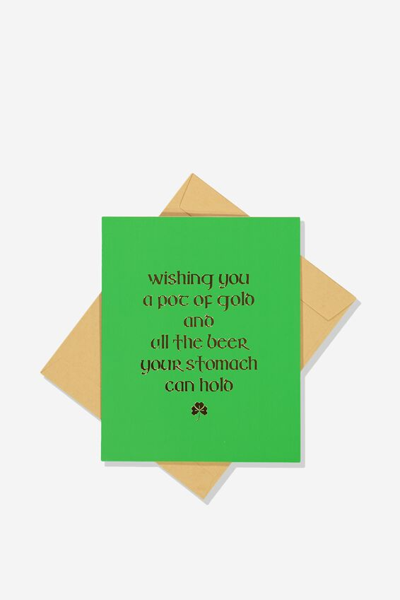 St Patricks Day Card, WISHING YOU A POT OF GOLD