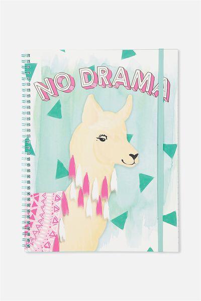 A4 Spinout Notebook - 120 Pages, NO DRAMA LLAMA