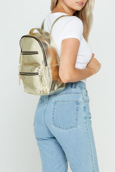 Mini Backpack, GOLD CROSS HATCH