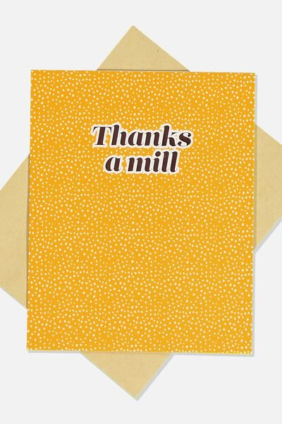 Thank You Card, THANKS A MILL YELLOW