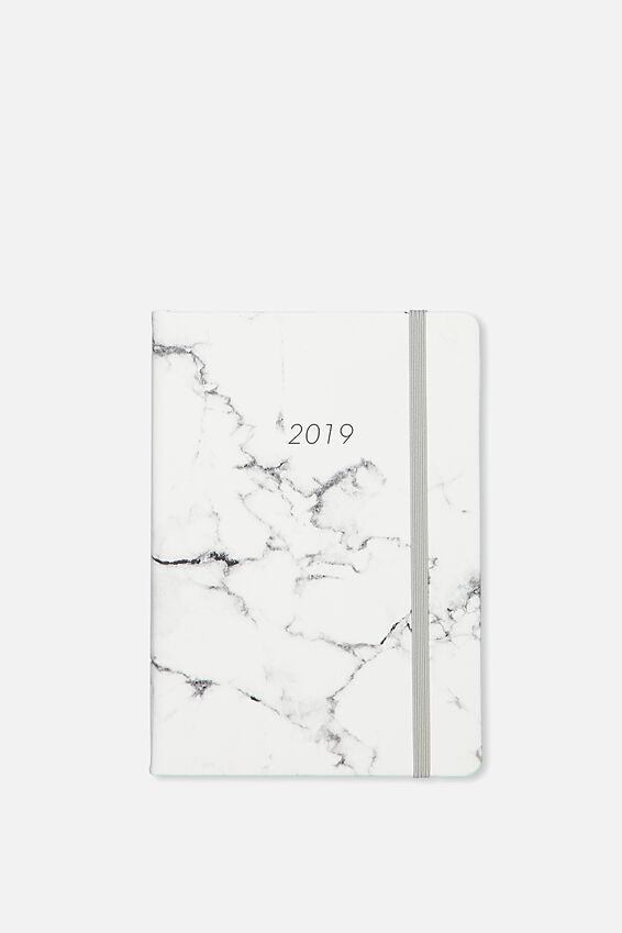 2019 A5 Daily Buffalo Diary, GREY MARBLE