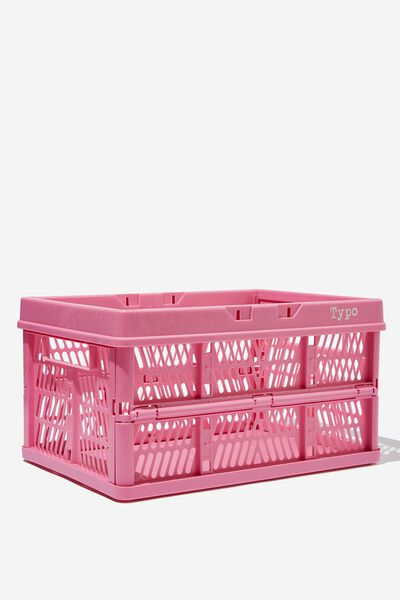Large Foldable Storage Crate, PINK GUAVA