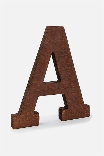 Letterpress Wooden Letter, VINTAGE WOOD A