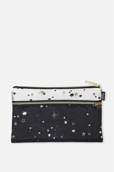 Archer Pencil Case, BLACK AND WHITE STARS