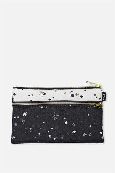 Archer Pencil Case, BLACK AND WHITE STARS
