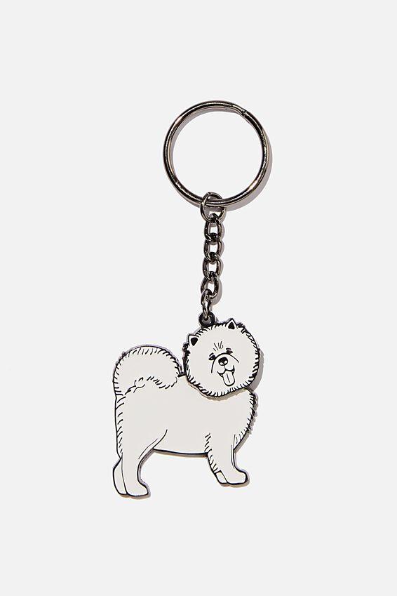 Enamel Keyring, WOBBLE - WHITE DOG