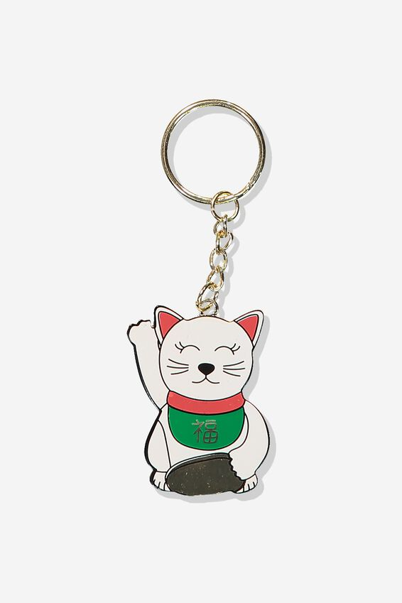 Enamel Keyring, LUCKY CAT DISC