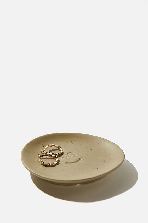 Mood Ceramic Tray, KHAKI SPECKLE HAPPY FACE