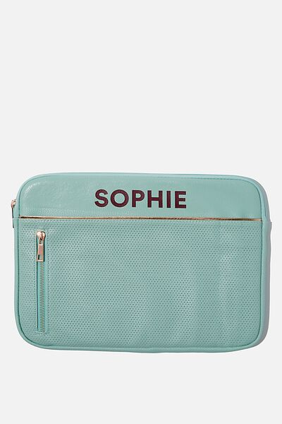"""Take Charge 13"""" Laptop Cover Personalised, MINT PERFORATED"""