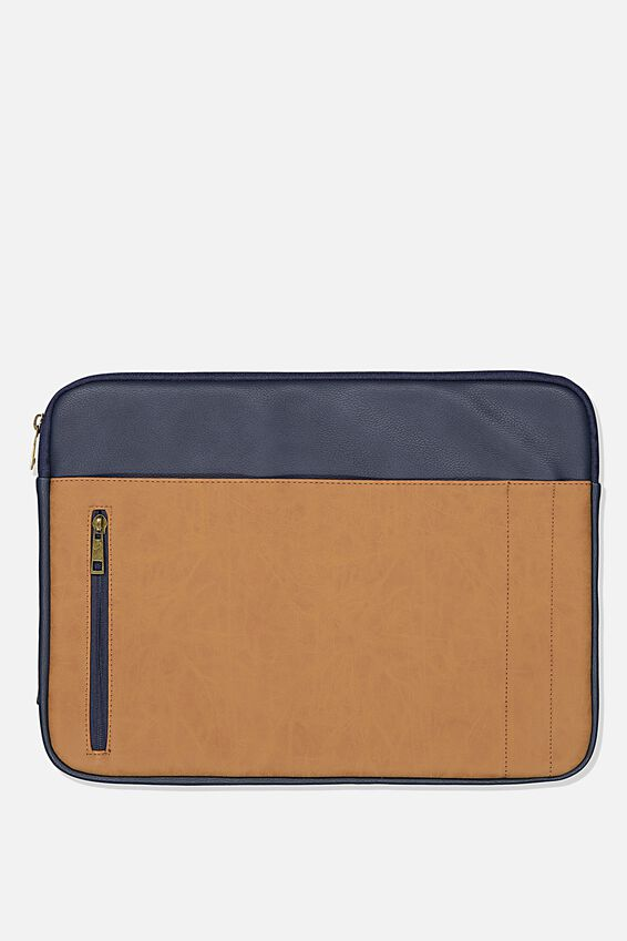 Take Charge 15 Inch Laptop Cover, NAVY W MID TAN