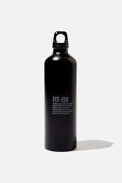 Single Wall Metal Drink Bottle, FITISH BLACK