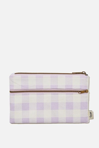 Archer Pencil Case, GINGHAM PALE LILAC