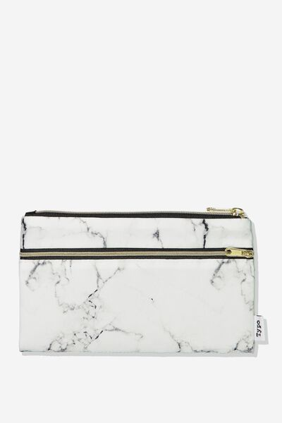 Archer Pencil Case, WHITE MARBLE