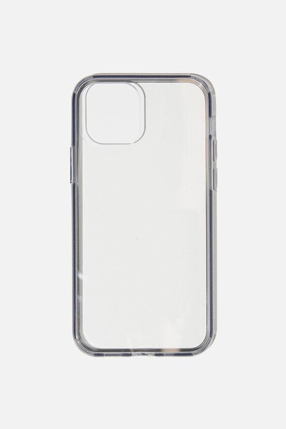 Snap On Protective Phone Case Iphone 12, 12 Pro, CLEAR WITH SEMI-TRANSPARENT BLACK