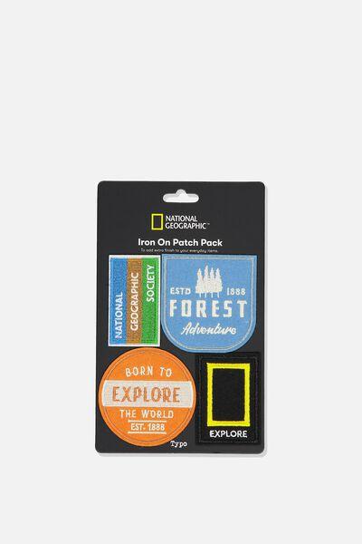 4Pk Fabric Badge, LCN NATIONAL GEOGRAPHIC EXPLORE