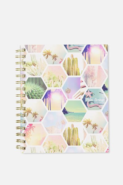 A5 Campus Notebook - 240 Pages, PALM SPRINGS HEXE COLLAGE