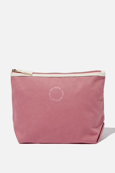 Cotton Travel Pouch, DUSTY ROSE LETS GO