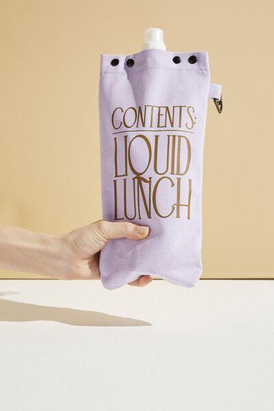Drip Canvas Flask, PALE LILAC LIQUID LUNCH