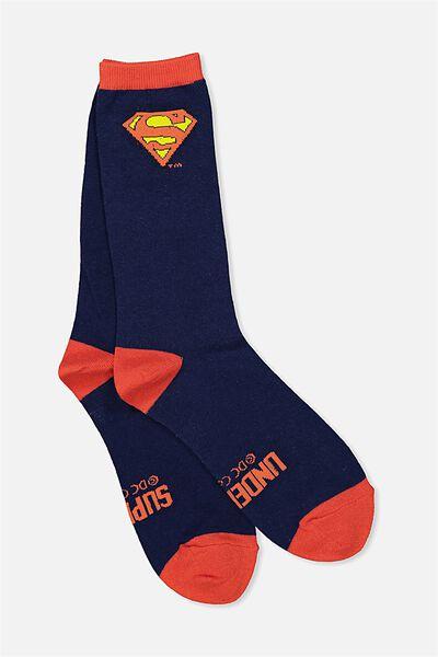 Mens Novelty Socks, LCN SUPERMAN NAVY