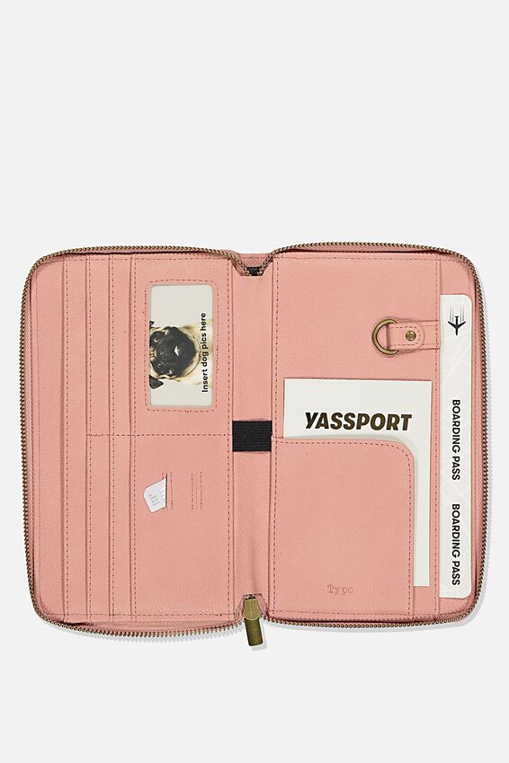 Rfid Odyssey Travel Compendium Wallet, DUSTY ROSE QUOTE