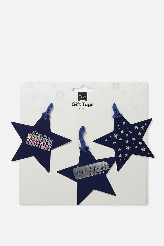 Gift Tag 9 Pack, IRIDESCENT STARS
