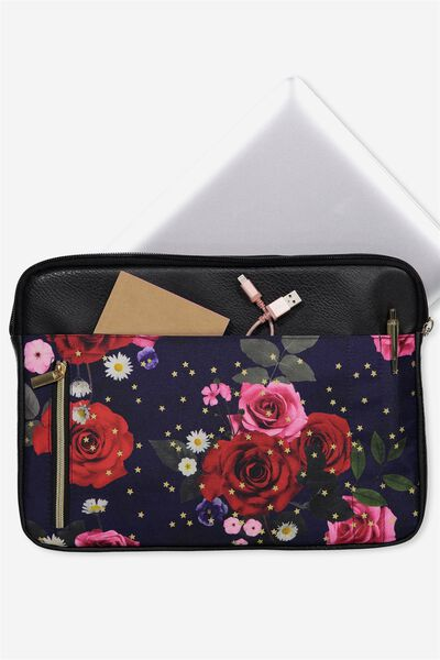 """Take Charge Laptop Cover 13"""", NAVY FLORAL"""