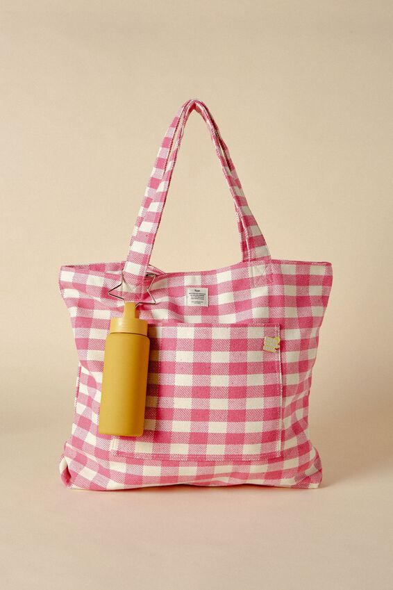 The Daily Tote Bag, RASPBERRY GINGHAM