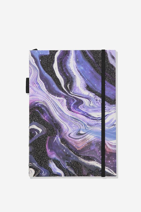 A5 Open Seam Notebook, PURPLE MARBLE