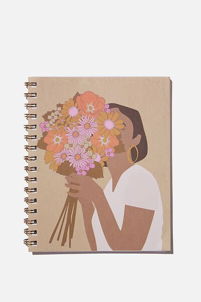 A5 Campus Notebook Recycled, FLOWER GIRL ILLUSTRATION