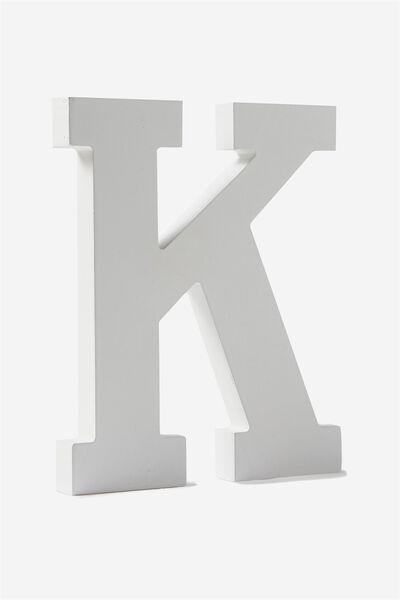 Letterpress Wooden Letter, WHITE K