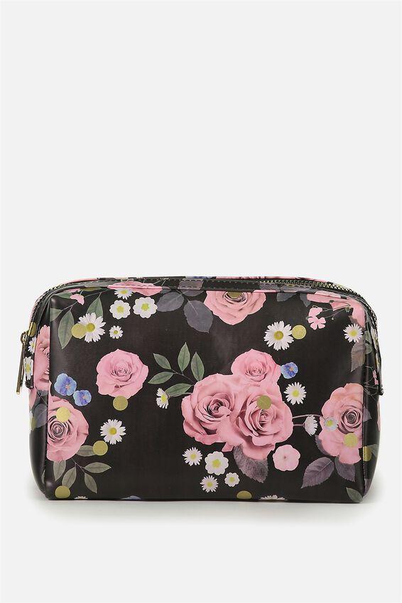 Dual Zipper Cosmetic Case, POLKA FLORAL