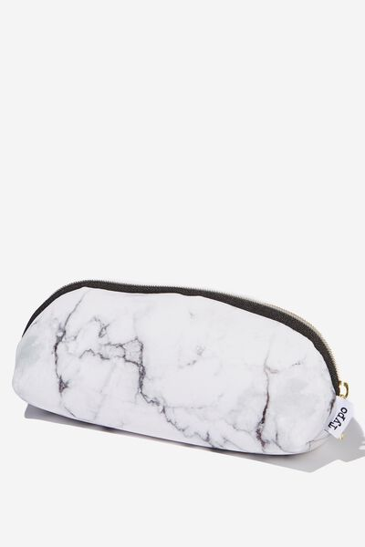 Curved Pencil Case, WHITE MARBLE