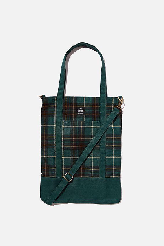 Book Tote Bag, DEEP GREEN FLANNO CHECK
