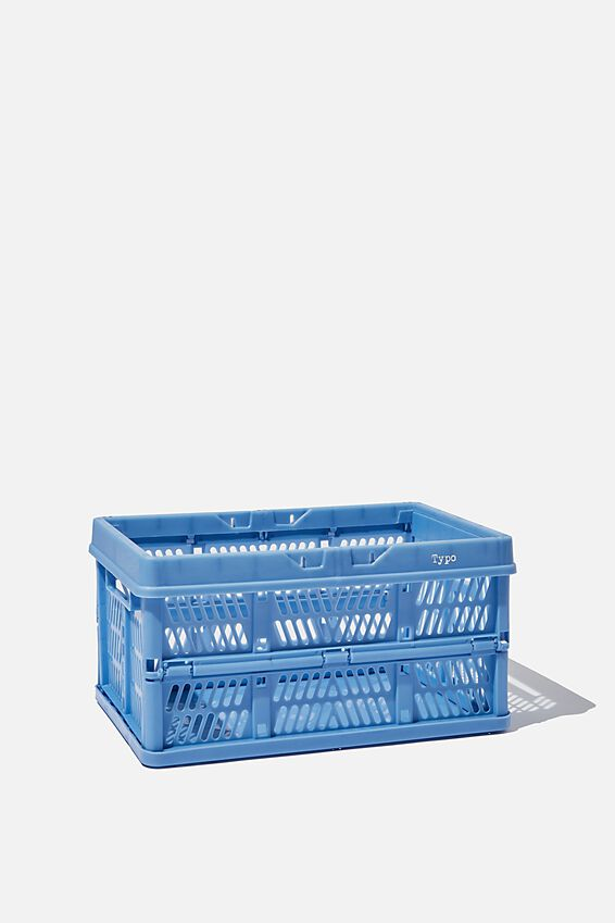 Small Foldable Storage Crate, CORNFLOWER