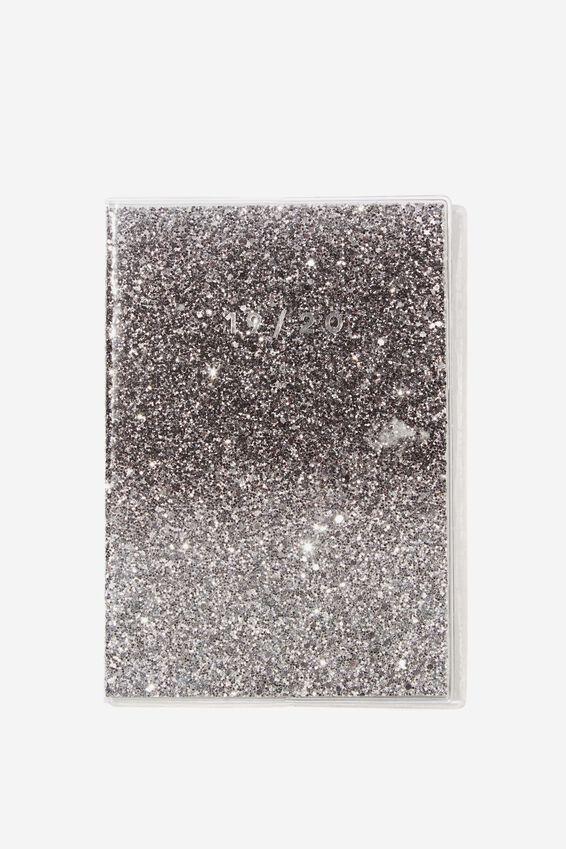 """2019 20 A5 PVC Diary (8.27"""" x 5.83""""), SILVER/BLACK"""