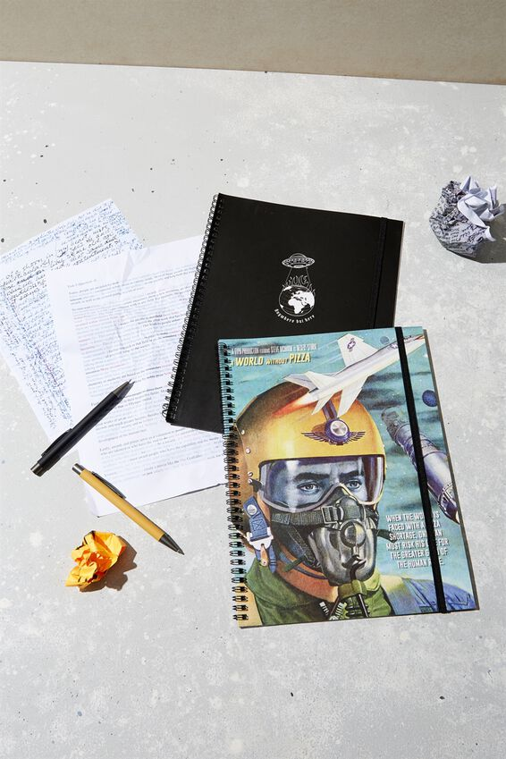 A4 Spinout Notebook Recycled, WORLD WITHOUT PIZZA