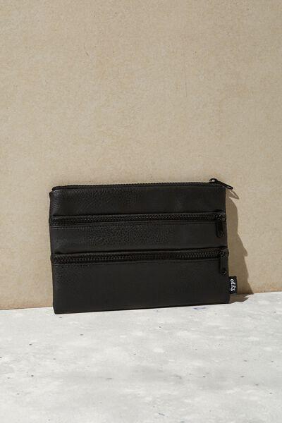 Double Archer Pencil Case, BLACK