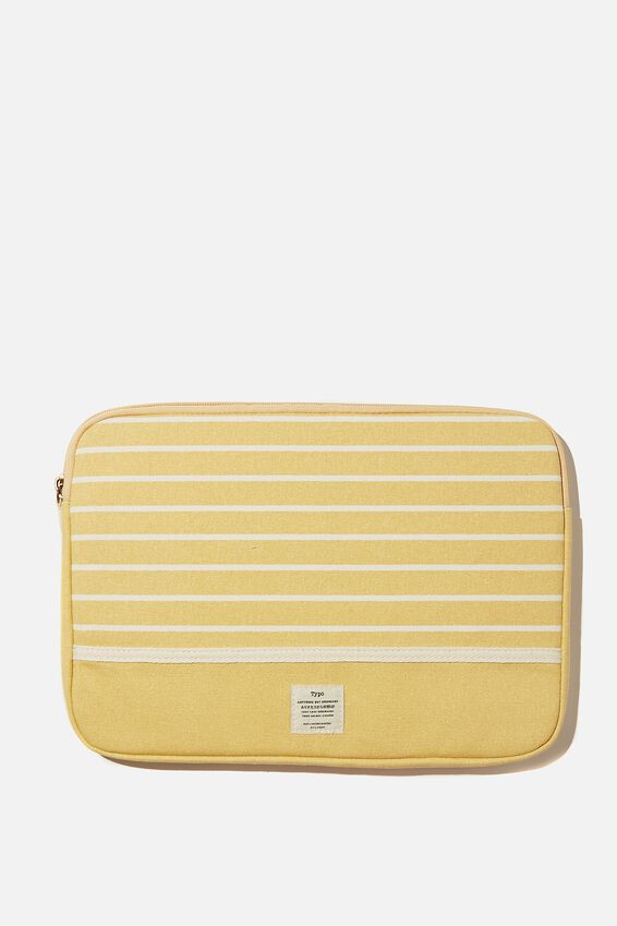 Canvas 13 Inch Laptop Case, WASHED MUSTARD 70S STRIPE WITH WASHED MUSTARD