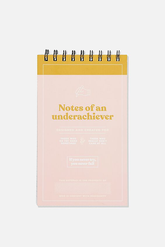 Flipout Notepad Recycled, UNDERACHEIVER PINK