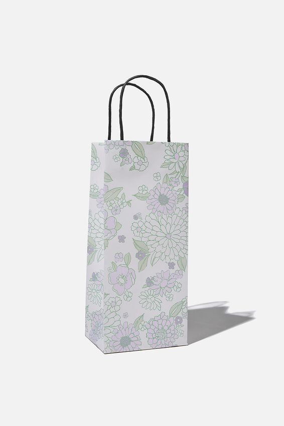 Bottle Gift Bag, MOLLY FLORAL MINT LILAC